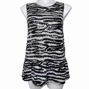 BB Dakota   Black White Sequined Zebra Peplum Tank